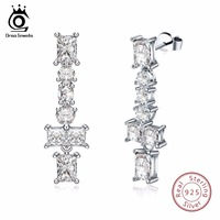 ORSA JEWELS Women Earrings 925 Silver Drop Long AAA Shiny Cubic Zircon Fine Jewelry For Female