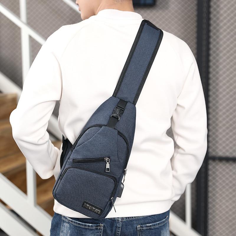 Men's Anti Theft USB Charging Cross body Shoulder Bags 4