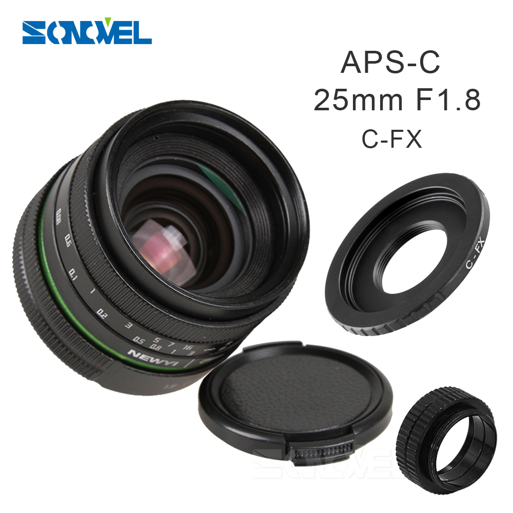 25mm F1.8 APS-C Manual Camera Lens+C Mount Adapter+Macro Rings Kit for Fujifilm FX Camera X-T10 X-T2 X-PRO2 X-PRO1 X-E2 X-E1 X-M