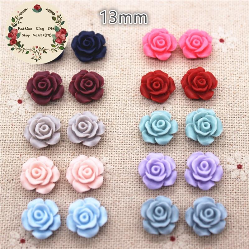 Embellishment-Accessories Rose-Flowers Cabochon Flatback Resin Vintage Diy-Craft 50PCS