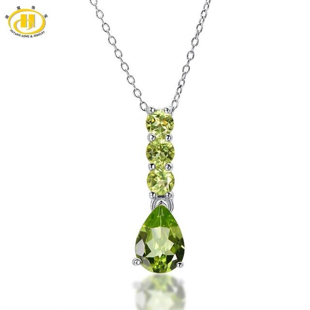 HUTANG Natural Verde Peridot Pear 10x7mm Sólido 925 Pingente de Prata Colar de Gemstone Jóias Finas das Mulheres Xmas 11.11
