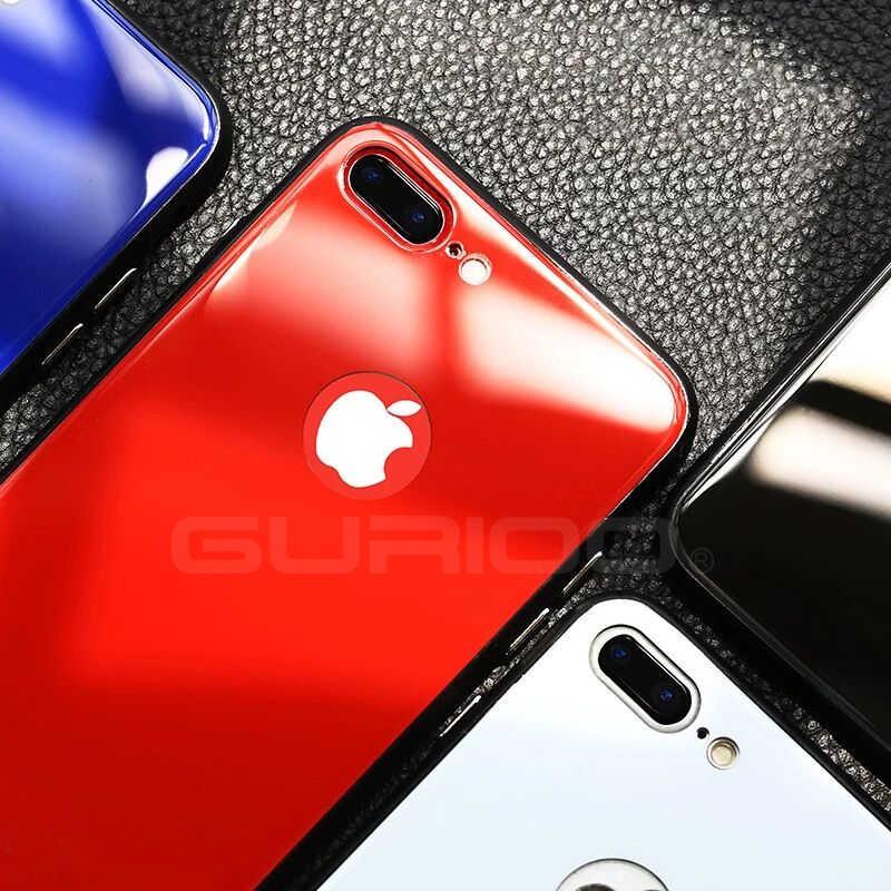 a9ebb361c1e ... Gurioo For Apple iPhone 6 6S 7 8 Plus Case glass + Soft TPU Super Thin  ...