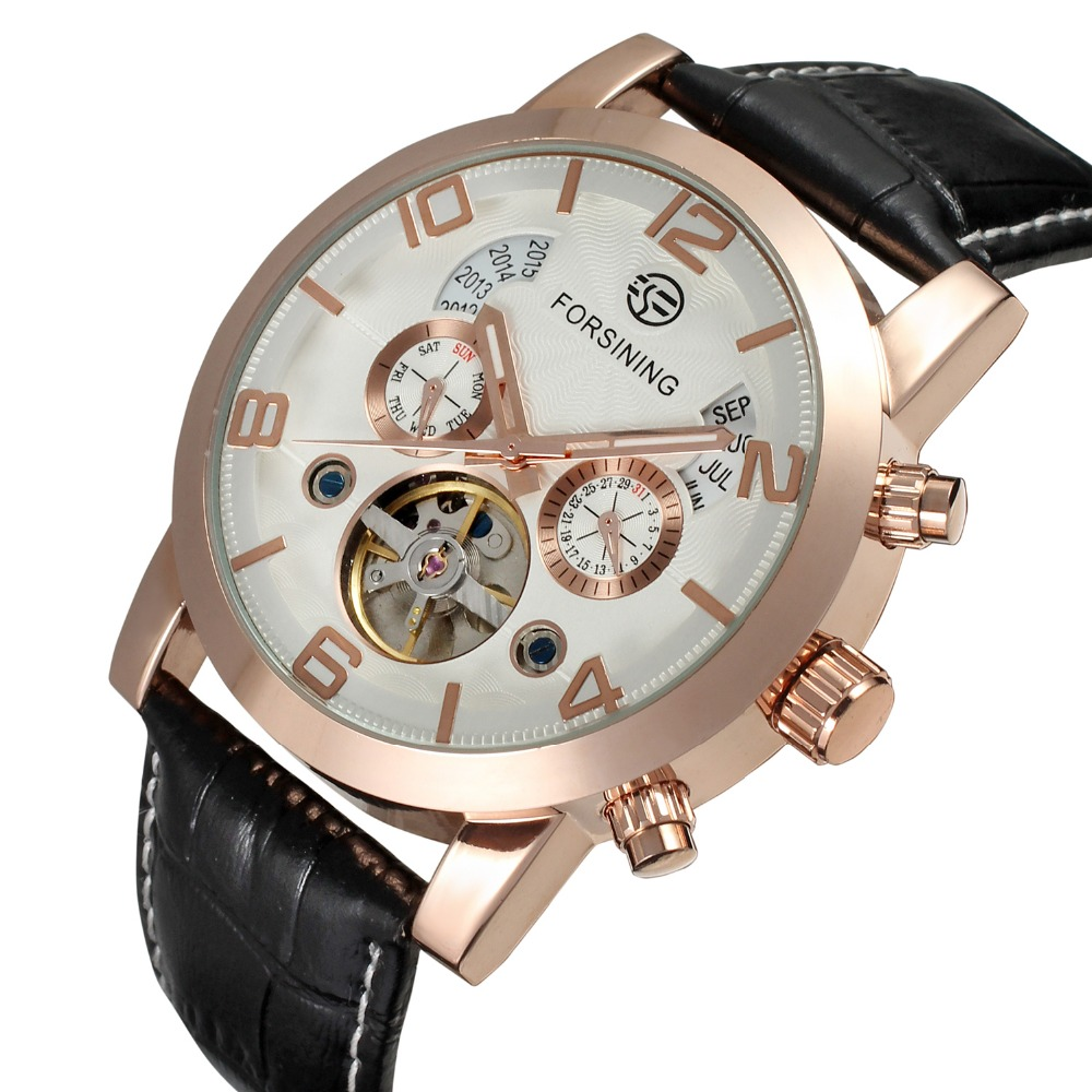 Forsining Automatic Tourbillon Skeleton Mechanical Watches Men Genuine Leather Band Self-wind Movement Watch Day Date Display forsining latest design men s tourbillon automatic self wind black genuine leather strap classic wristwatch fs057m3g4 gift box
