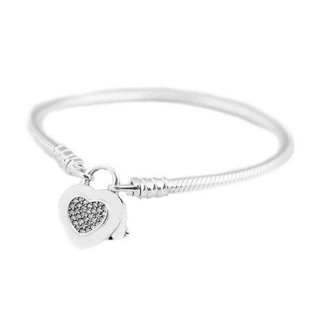 98d41fb3b927 925 Cadena de serpiente plata ajuste momentos originales pulsera marca  suave con cierre candado corazón brillante para mujer DIY regalo joyería