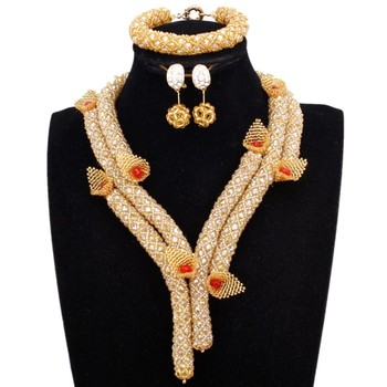 Dudo Store Dubai Jewelry Set Flower Gold 2019 Trendy Necklace Set Bridal 2 Layers Ladies Party Set 2019 African Nigerian Beads