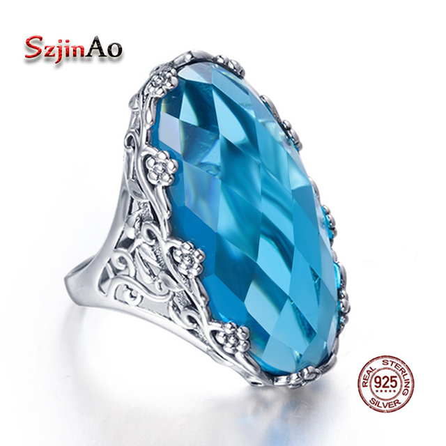 Szjinao Wholesale Vintage Big Rings For Women 22ct Oval Aquamarien Flower Patter