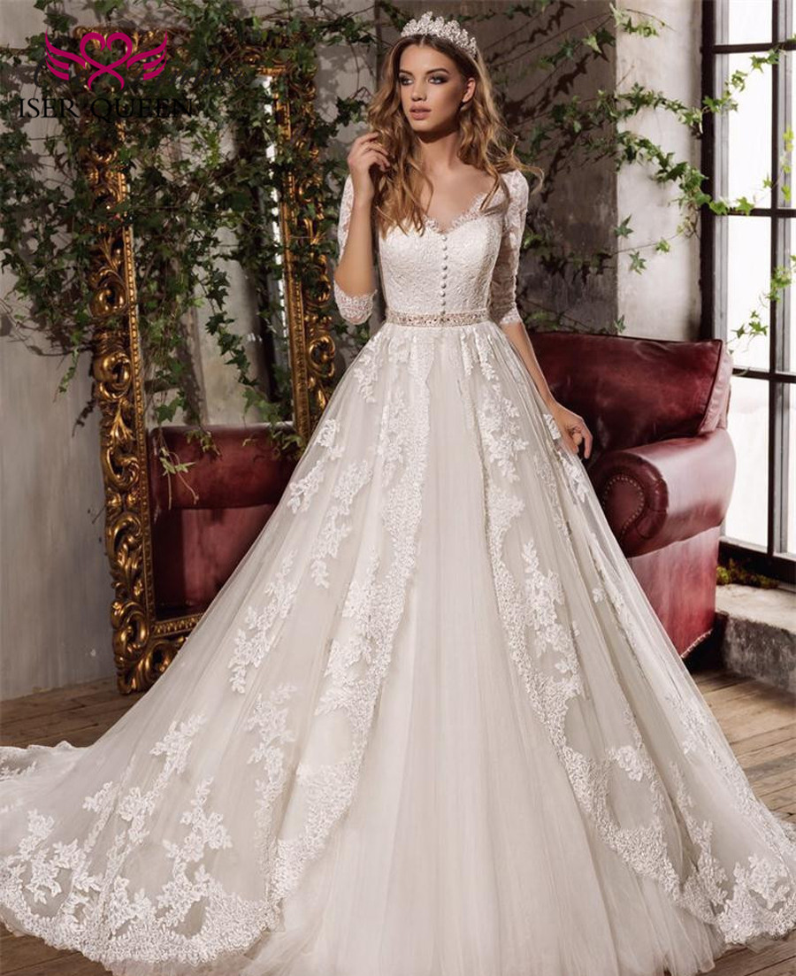 Half Sleeve Embroidery Princess Wedding Dresses Ball Gown Court Train Beautiful Beaded Sashes Bow White Elegant Wedding Dress