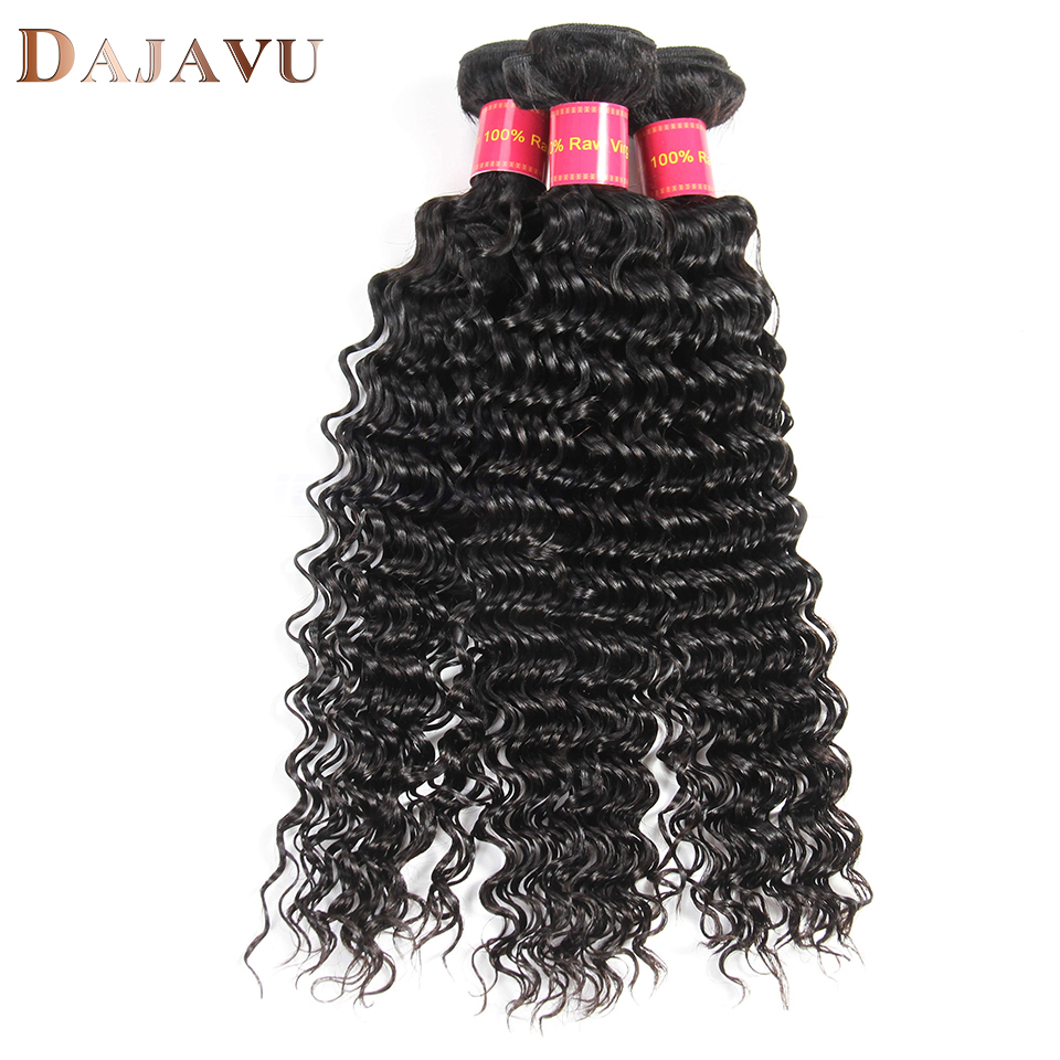 Dejavu Hair Malaysian Deep Wave Hair 100% Human Hair 3 Bundles Natural Color Weaving Non-Remy Hair Extension Natural Color