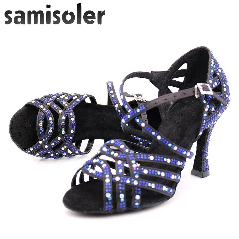 Samisoler Dress Shoes Woman Zapatos De Baile Latina Mujer Black Satin Dark Blue Rhinestones Ladies Salsa Party Ballroom