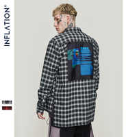 INFLATION Oversized Check Long Sleeve Casual Shirt 2018 Autumn & Winter Fashion Hip Hop Men Plaid Flannel Check Shirt 8713W