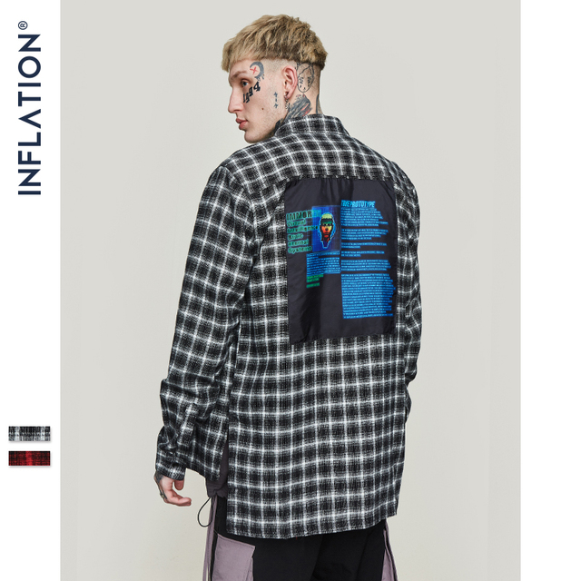 INFLATION Oversized Check Long Sleeve Casual Shirt 2020 Autumn & Winter Fashion Hip Hop Men Plaid Flannel Check Shirt 8713W