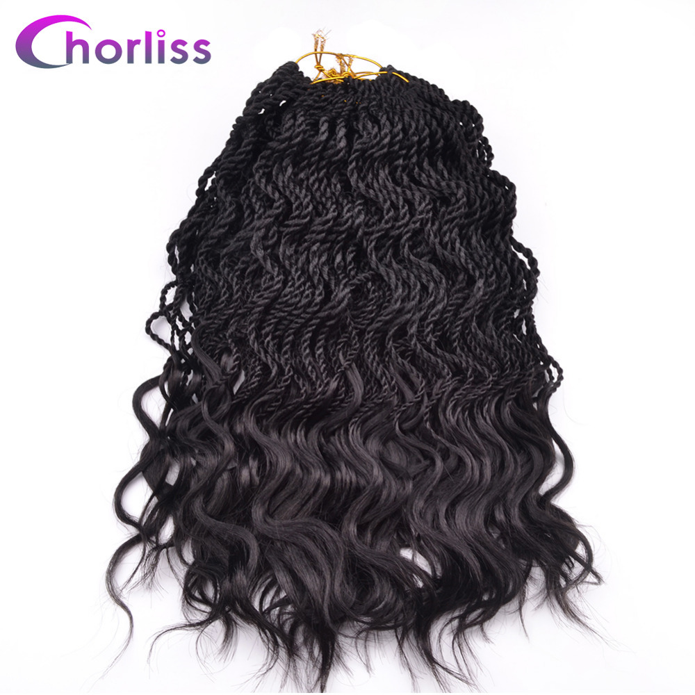 Chorliss 14 Curly Senegalese Twist Ombre Crochet Braids Synthetic Braiding Hair Extension 35 Roots Pack Low