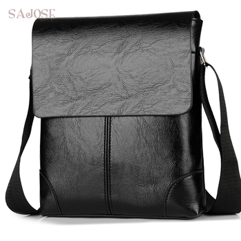 Crossbody Bag Mannen Lederen Schoudertas Casual Business Man Messenger Tassen Vintage Mens Designer Zwarte Handtas Drop Verzending
