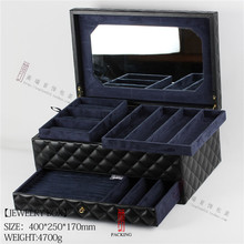 Brand Real Leather Jewelry Box And jewellery Packaging Box For wedding Or Birthday Made with Crown Leather Storage Box