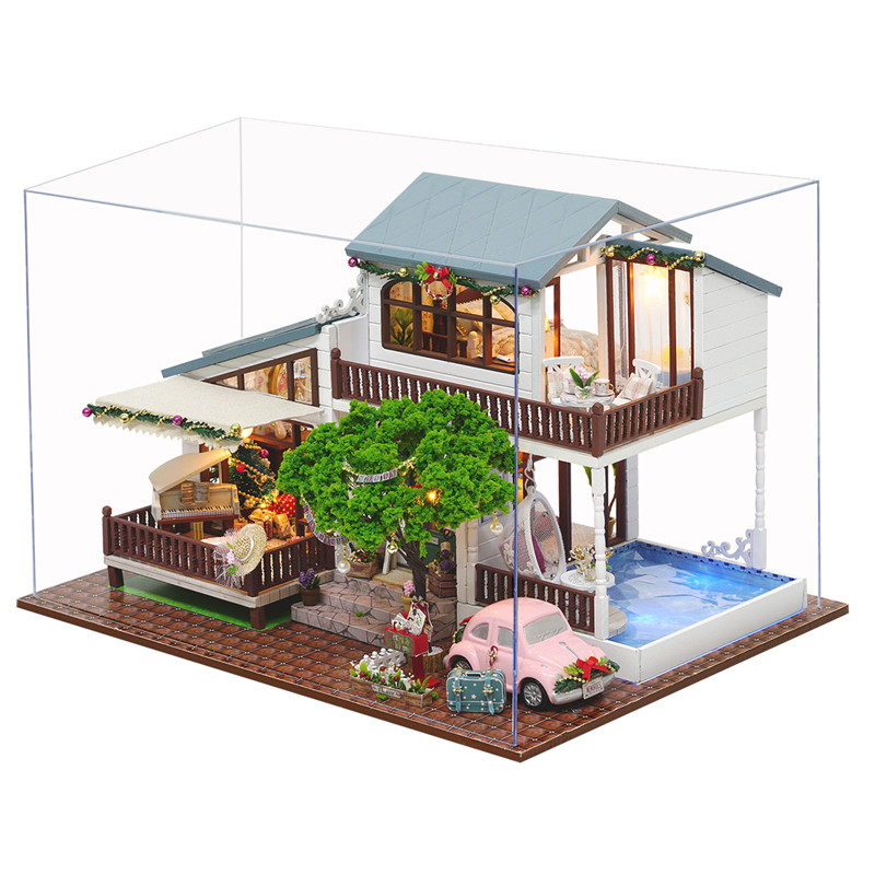 DIY Dollhouse London Holiday With Cover Light Car Music House Model Intelligence Children Gift Collection Christmas Gift cd billie holiday the centennial collection