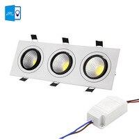 [DBF] סופר מואר שקוע LED ניתן לעמעום Downlight COB 15 W כיכר 3 ראש 21 W 30 W 36 w אור LED ספוט מנורת תקרת AC 110 V 220 V