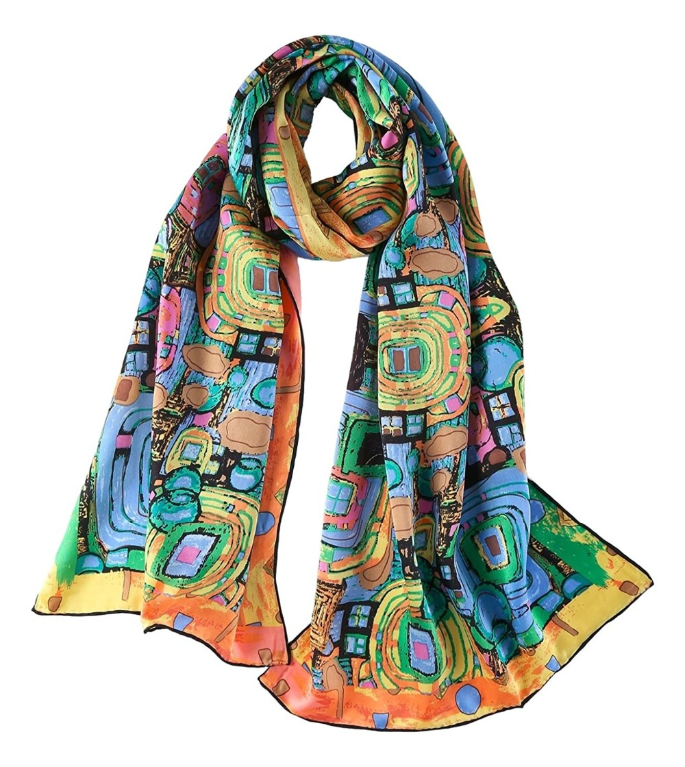 Women's 100% Luxurious Long Silk Scarf Oil Painting Arts Printing Summer Scarfs Shawl Classical Accessories
