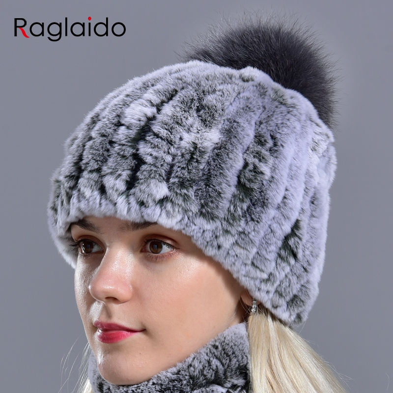 Raglaido Knitted Pompom Hats for Women Beanies Solid Elastic Rex Rabbit Fur Caps Winter Hat Skullies Fashion Accessories LQ11219 2