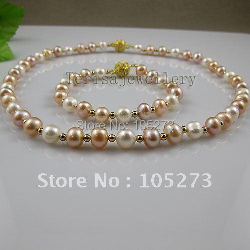 Удивительно! жемчужные украшения набор А. А. 8-9 мм белый розовый фиолетовый цвет Натуральной пресноводного жемчуга Женская Jewelry 1 компл. a2583