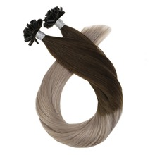 U Tip Hair Extensions Keratin Remy Hair Extenions Color #4 Brown Fading to #18 Ash Blonde Human Hair Extensions 50g