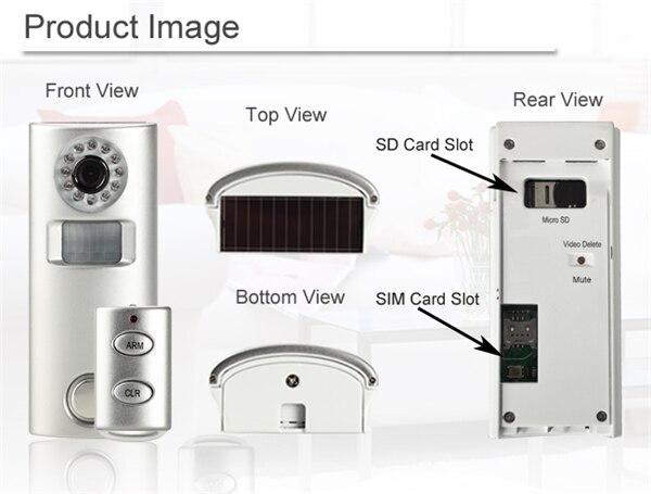 Солнечный GSM сигнализации Камера с Ночное видение и ПИР обнаружения движения для записи видео вооруженных/разоружены Remot Управление и li-Бат...