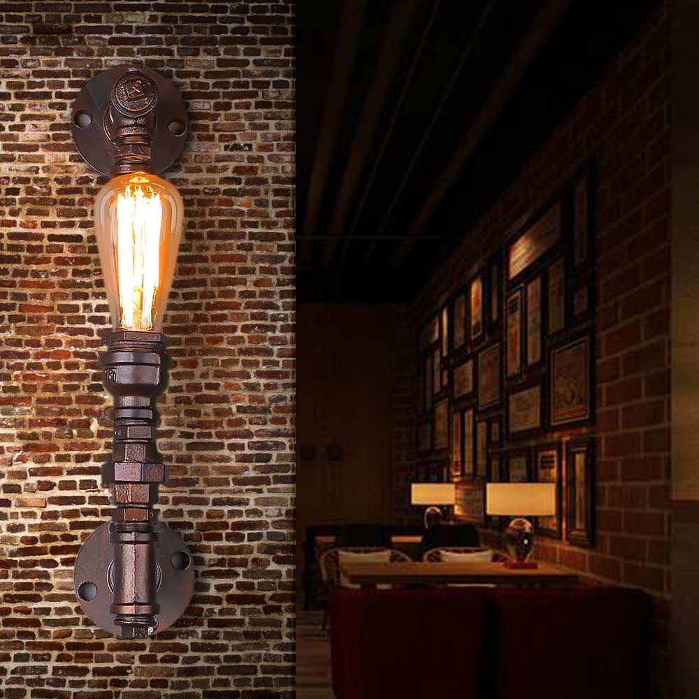 Loft Steam punk Industrial iron rust Water pipe retro wall lamp Vintage e27 sconce lights for home lighting living room bedroom wheat breeding for rust resistance