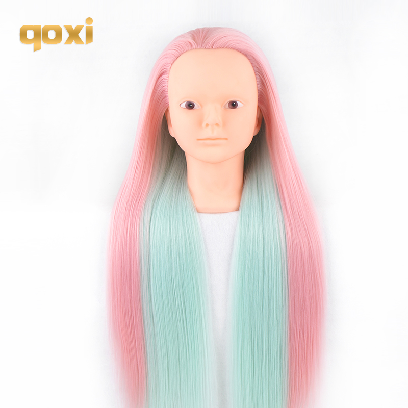 Qoxi Professional training heads with long thick hairs practice Hairdressing mannequin makeup dolls hair Styling tete for sale