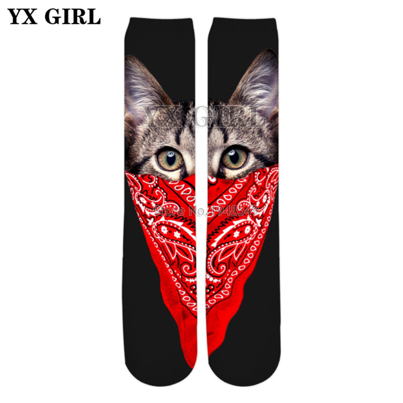 YX GIRL High quality cotton socks 2018 summer New Fashion 3d socks Animal Masked Killer Cat Funny Print Men/Women Sock