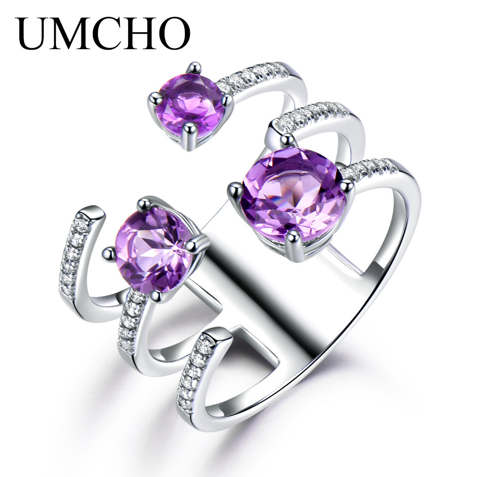 UMCHO 1.37ct Genuine Natural Amethyst Solid 925 Sterling Silver Double Ring Luxury Gemstone Wedding Rings For Women Fine Jewelry umcho luxury tanzanite rings for women solid 925 sterling silver gemstone engagement ring sets christmas jewelry gift with box