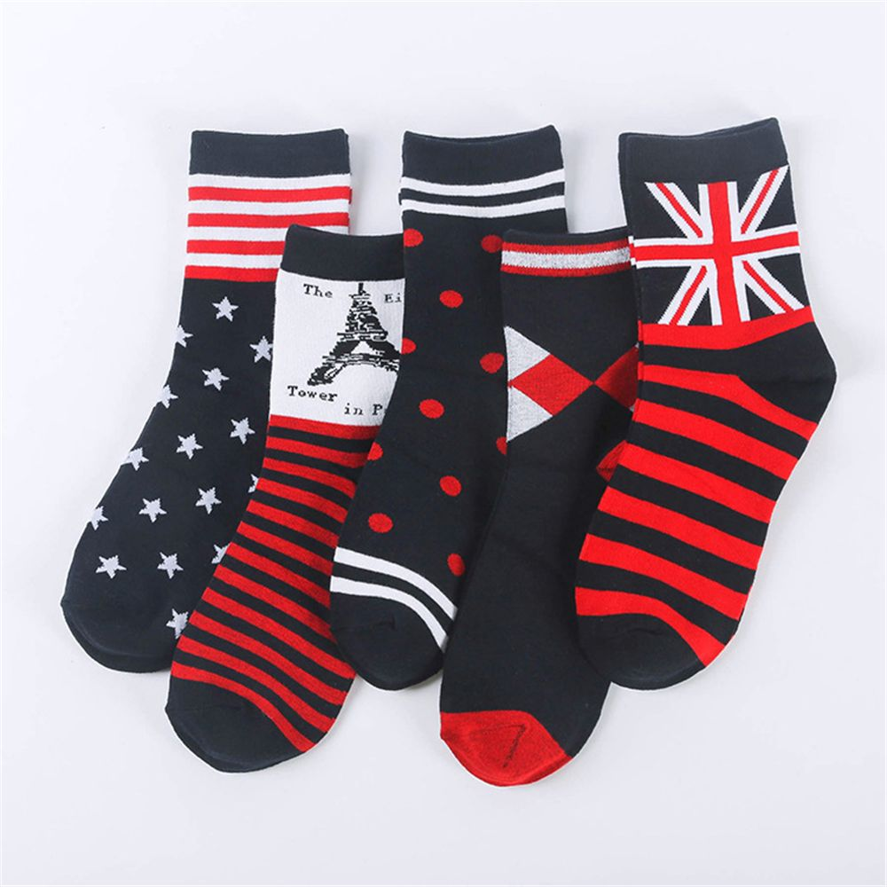 Men's Socks Radient 5 Pairs Men Business Leisure Bamboo Fiber Long Tube Socks Male Striped Flowered Warm Pure Color Retro Meias Loafter Dress Calze