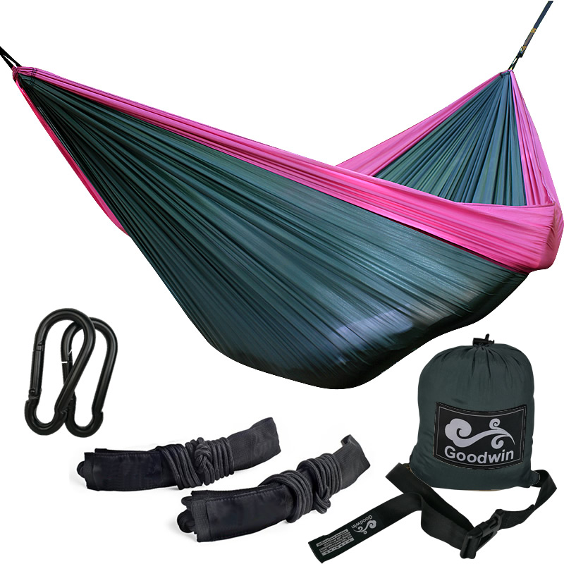 Outdoor Camping Hammock - Lightweight Portable Nylon Parachute Double Hammock With Wire Gate Carabiner And Tree Straps