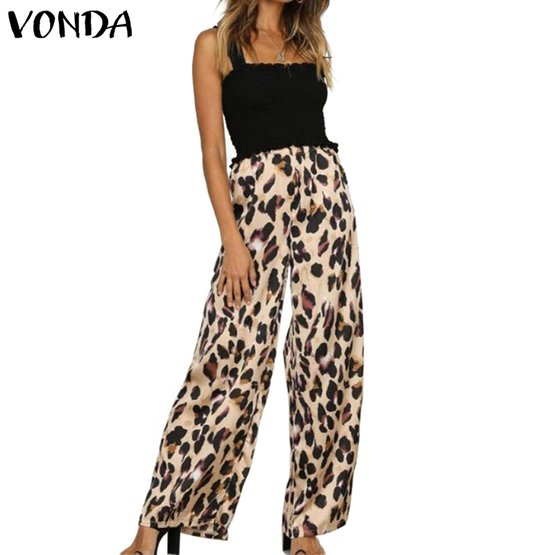 VONDA Leopard Print Long   Pants   Women 2019 Autumn Elastic Waist   Wide     Leg     Pant   Streetwear Casual Trousers Office Lady Pantalon 5XL