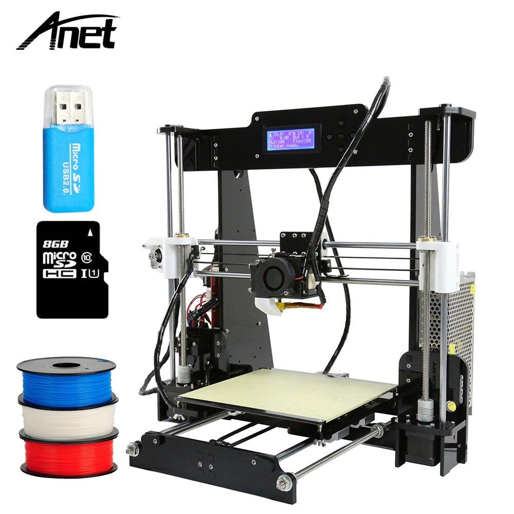 2018 Venta caliente Anet A8 A6 3D Kit de la Impresora DIY Reprap Prusa i3 barato 3D Printes con filamento libre Impresora 3D máquina de impresión