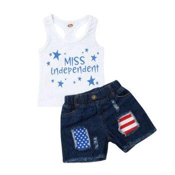 3f8ff4eeedcf937 Focusnorm/Одежда для маленьких девочек на День независимости; жилет; топ из  джинсовой ткани; летние шорты штаны; милый наряд