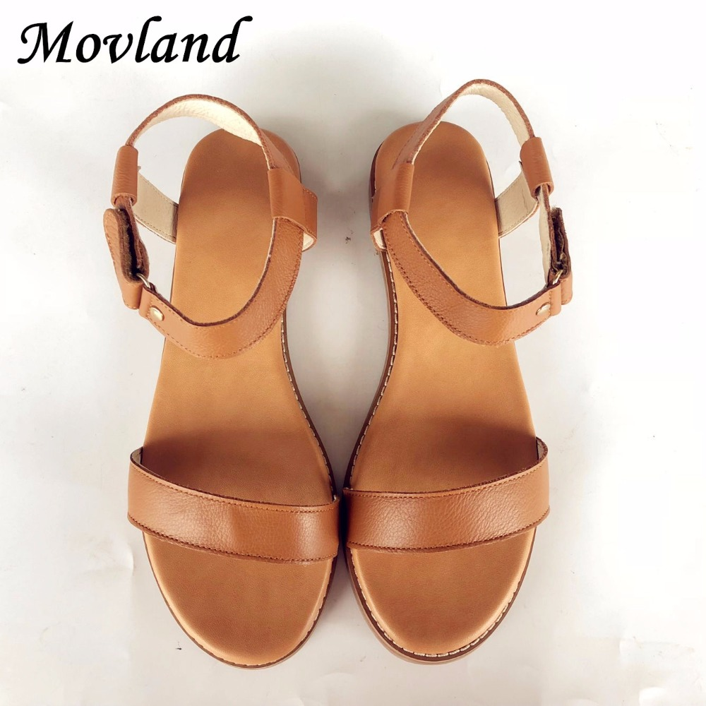 Movland New style head layer cowhide pure handmade Leisure simple literature and art Sandals retro art