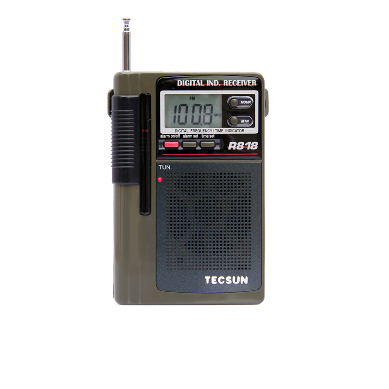 TECSUN R-818 FM/MW/SW Dual Conversion World Band Radio Receiver With Built-In Speaker Free Shipping tivdio v 116 fm mw sw dsp shortwave transistor radio receiver multiband mp3 player sleep timer alarm clock f9206a