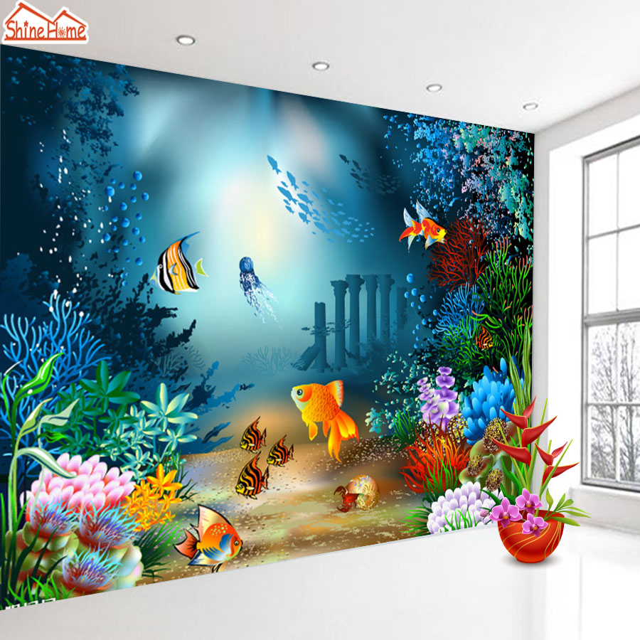 ShineHome-Custom Undersea World Photo Wallpapers 3D Contact Paper 3d Kids Girls Boys Children Living Room Wall Murals Wallpaper shinehome modern custom elephant skyline photo wallpaper 3d stereoscopic decorative wall paper murals boys children kids room