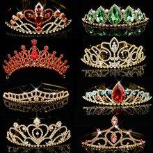 Diadema de corona de princesa de la Reina grande, tocado de diamantes de imitación verde y rojo, Tiara de cristal, accesorios de joyas para el pelo para Boda nupcial