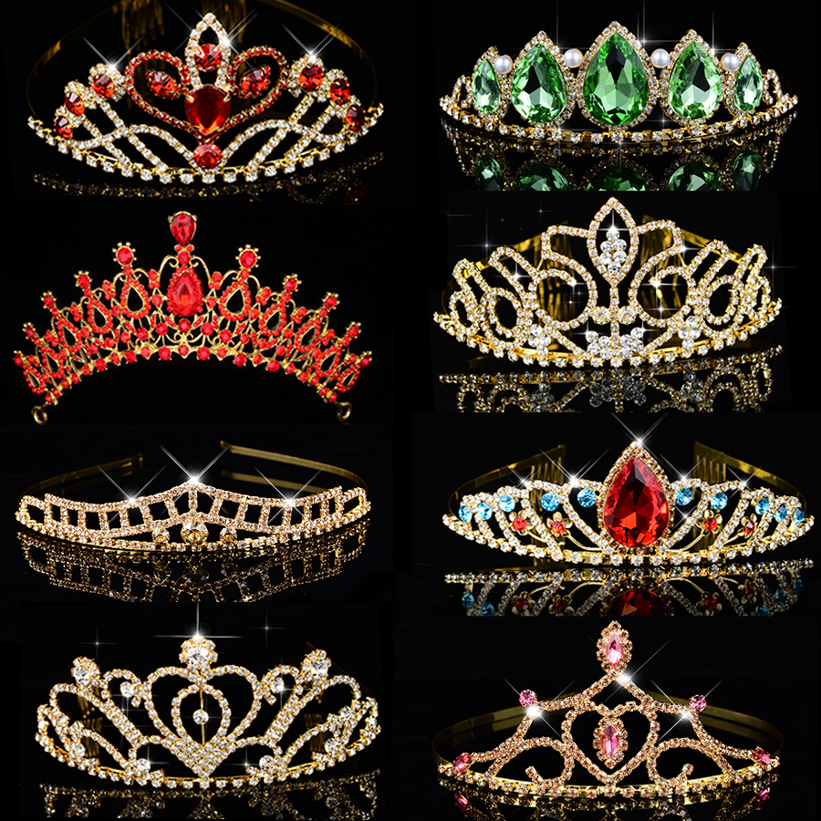 Big Queen <font><b>Princess</b></font> <font><b>Crown</b></font> Diadem Green Red Rhinestone Gold Headdress Head Crystal Tiara Bridal Wedding Hair Jewelry Accessories image