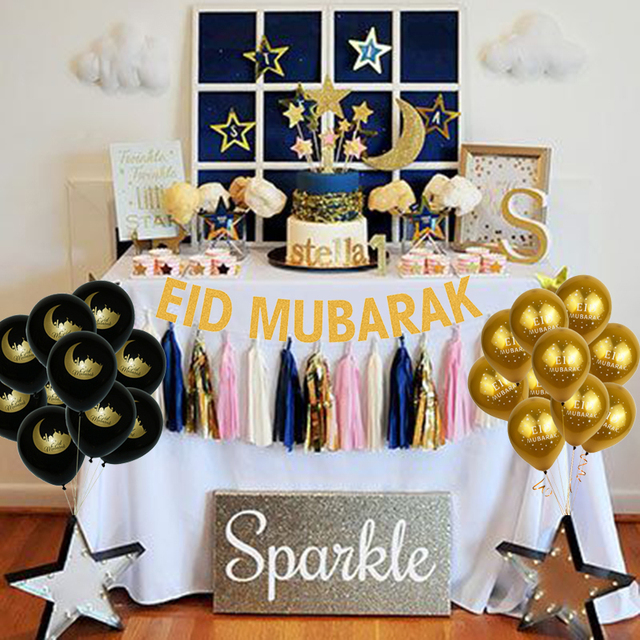 Ramadan Decorations Eid Mubarak Gold  Banner Balloons Muslim Islamic Eid Party Favor Eid al fitr Ramadan Mubarak Party Decor