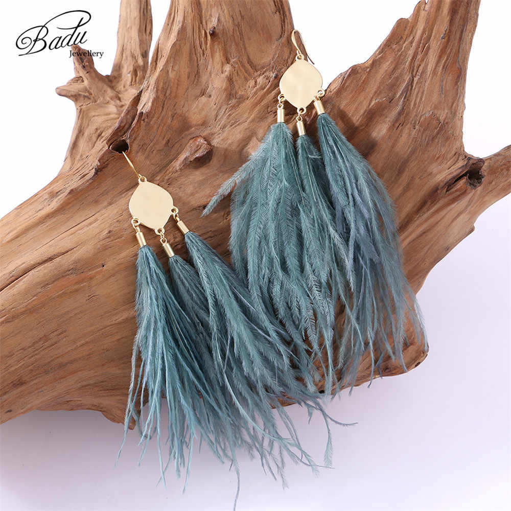 Badu Vintage Ostrich Feather Earring Long Drop Women Winter Autumn Winter Earrings Light Feathers Christmas Jewelry Wholesale