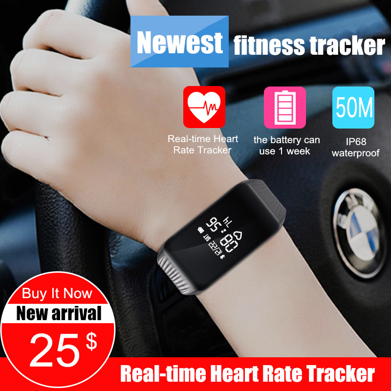 K1 Smart Band Waterproof Watch Fitness Tracker Activity Wristband Real-time Heart Rate Monitor Sleep Monitor Smart Bracelet