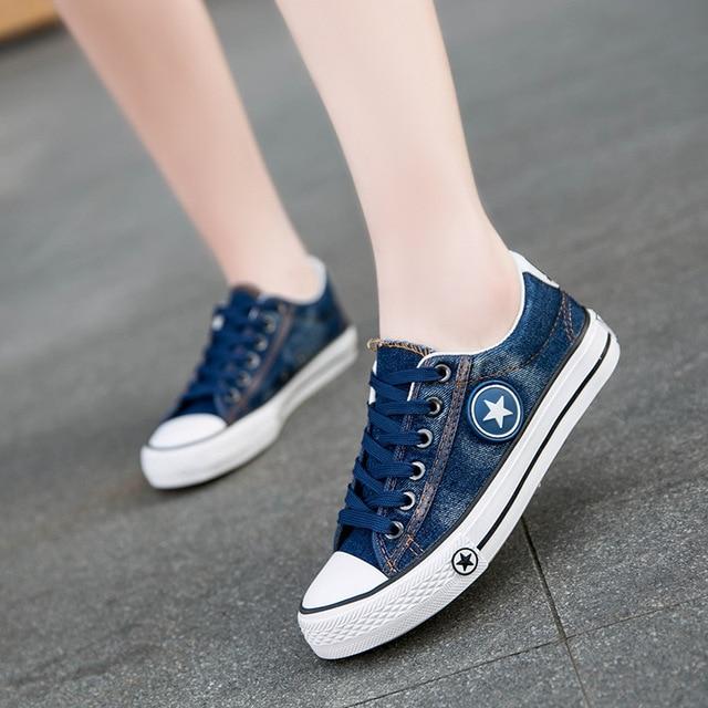 Women Casual Shoes Girls Canvas Shoes New Denim Trainers Stars Fashion Skate Shoes Flats Basket Femme Tenis Feminino Size 35-44