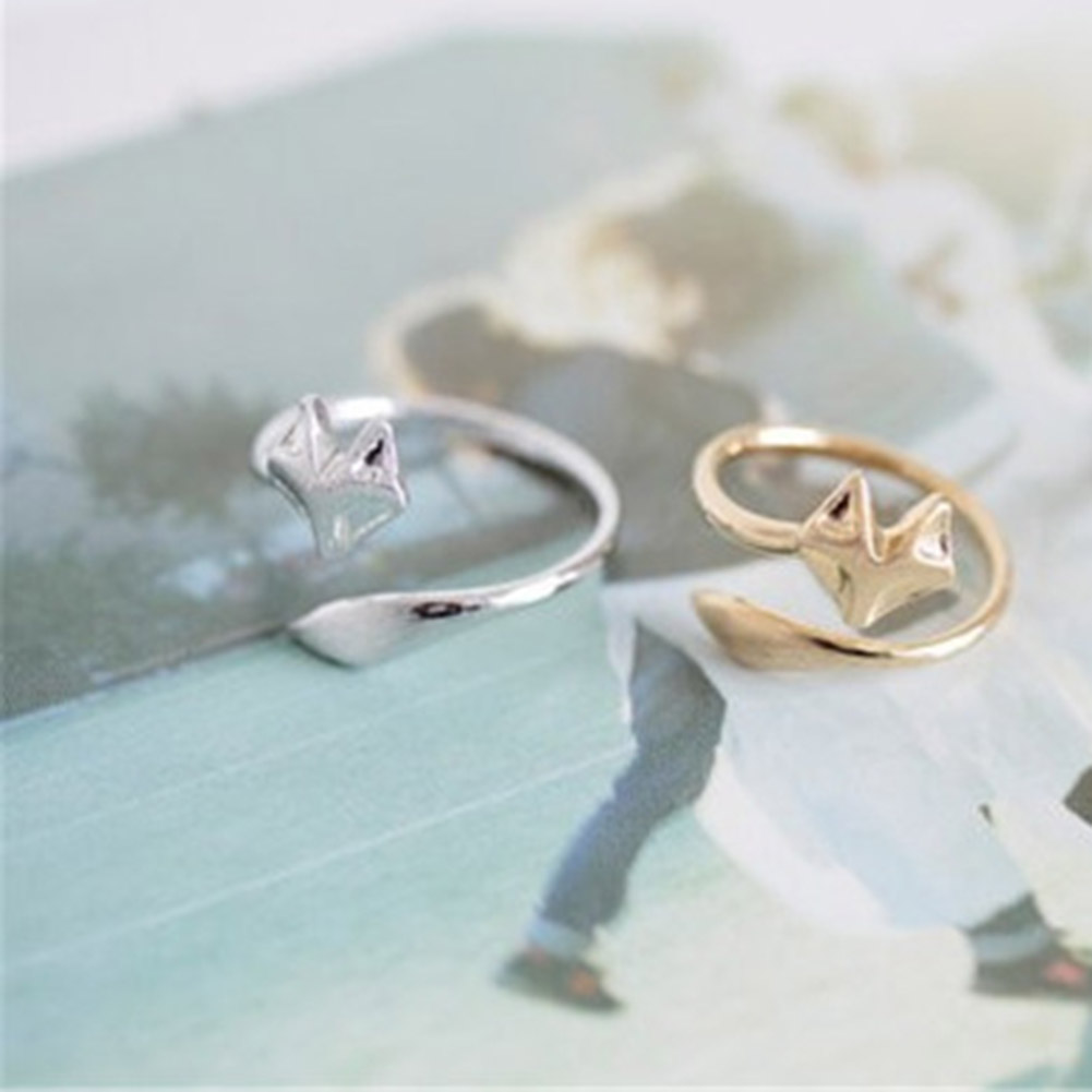 1pc Fashion Fox Cute Head Ring Cute Animal Open Ring for Women Party Gift Simple Lovely Ring Fox Wedding rings Gifts Кольцо