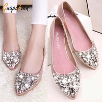 Guapabien New Glitter Rhinestion Crystal Pointed Toe Women Flat Shoes Solid PU Leather Women Shoes Slip
