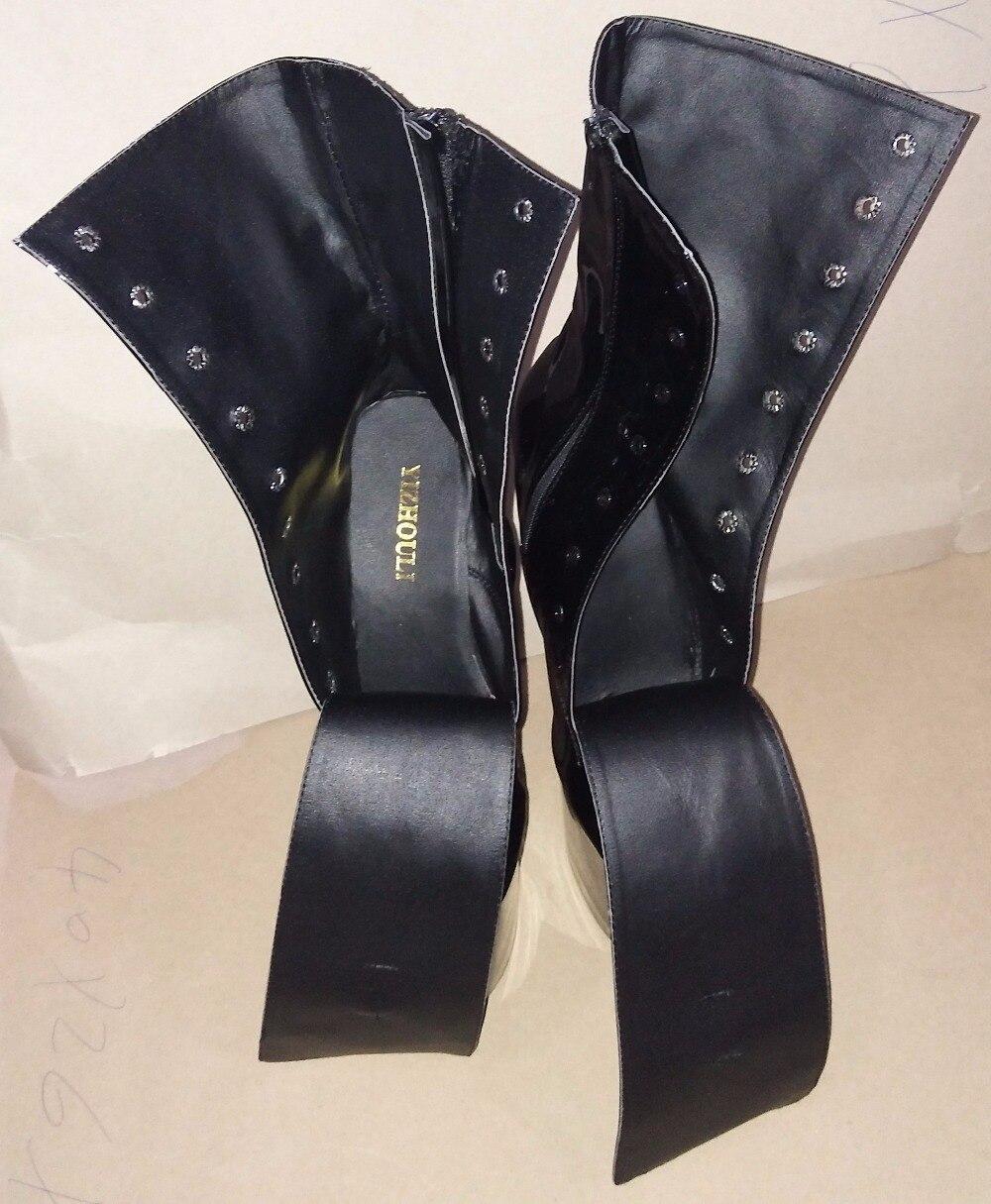 Mode sexy chevalier femme 8 pouces haut talon plate-forme bottines pour les femmes automne hiver chaussures 15-20cm noir pôle danse bottes - 5