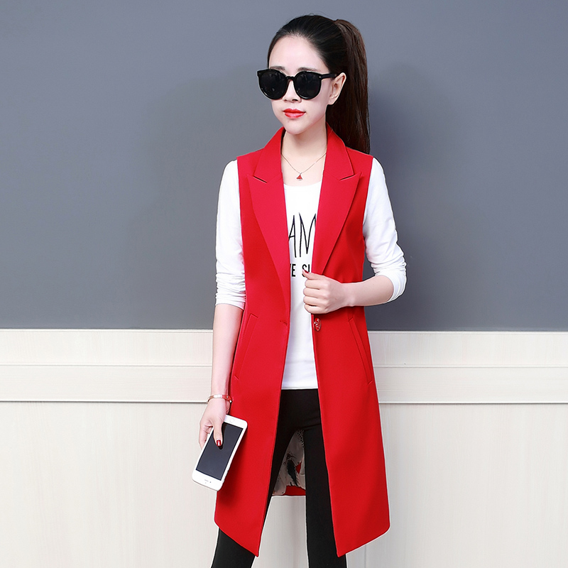 Women Blazer Long Vest Coat Summer Autumn Waistcoat Sleeveless Jacket Plus SIze Outwear Casual Suit Roupa Female One Button