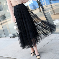 2019 Summer Tulle Long Skirt Women Elastic High Waist Lace Jupe Petticoat Korean Femme Fashion Pleated Tiered Skirt Gray Saias