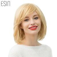Esin Mescolare I Capelli 10 Pollici Biondi parrucche per le Donne Bianche Riga di lato Muti-strati di Alta Qualità Naturale Parrucca Ondulata con Naturale frangetta