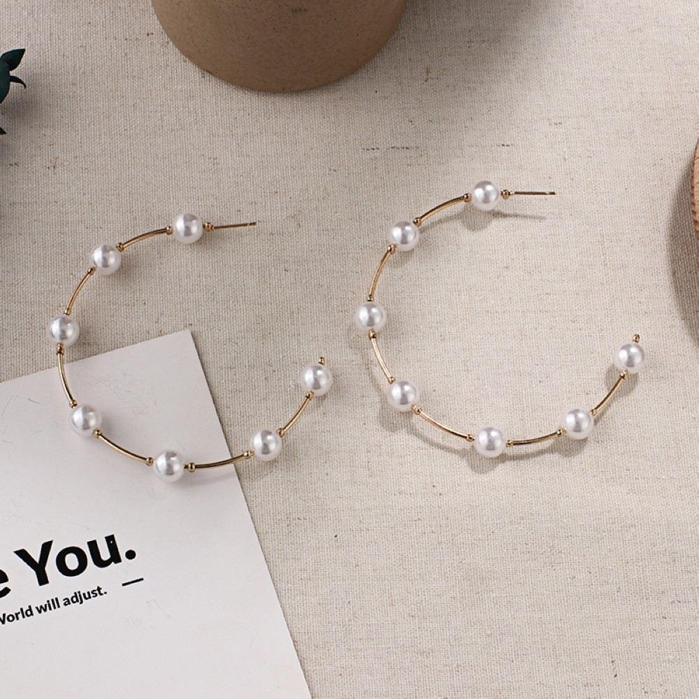 HTB1PCbaU7voK1RjSZFNq6AxMVXai - New Boho White Imitation Pearl Round Circle Hoop Earrings Women Gold Color Big Earings Korean Jewelry Brincos Statement Earrings
